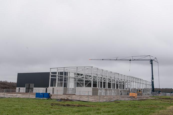 De bouw van de nieuwe hallen van Van den Brink Staalbouw op industrieterrein 't Lochter 3 in Nijverdal gaat razendsnel.