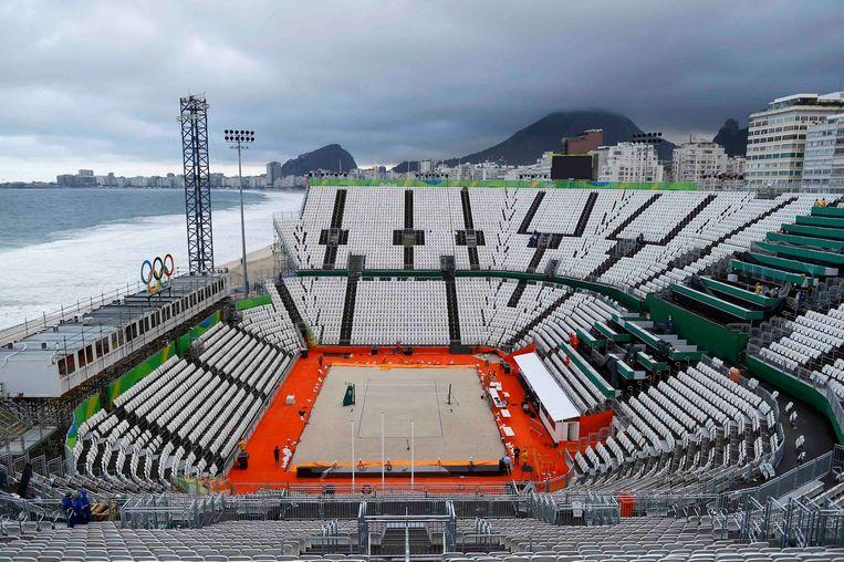 Een leeg beachvolleybalstadion aan de Copacabana in Rio de Janeiro. Beeld REUTERS