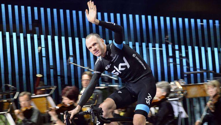 De gedoodverfde favoriet Christopher Froome op de ploegenpresentatie in Leeds Beeld ANP