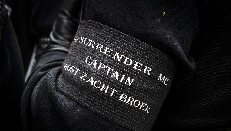 Beeld van de begrafenis van No Surrender-voorman Brian Dalfour. Hij was een van de mannen die omkwamen bij de dubbele moord in Hooge Zwaluwe. Beeld anp