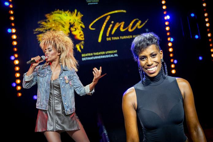 Nyassa Alberta in haar rol als Tina Turner en tijdens de castpresentatie van Tina