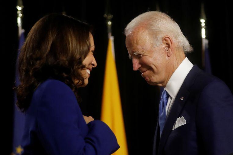 Joe Biden en zijn running mate Kamala Harris tijdens hun eerste gezamenlijke optreden.