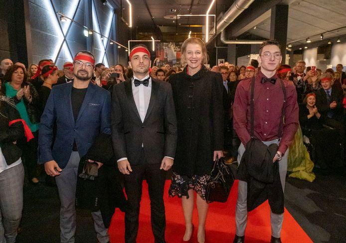 De finalisten Benjamin Samson, Jorge Lopes, Michèle Soudijn en Levi Oreel op de rode loper van Filmstarz.