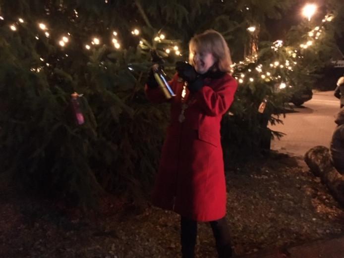 Burgemeester Marieke Moorman hangt haar wens in de boom.
