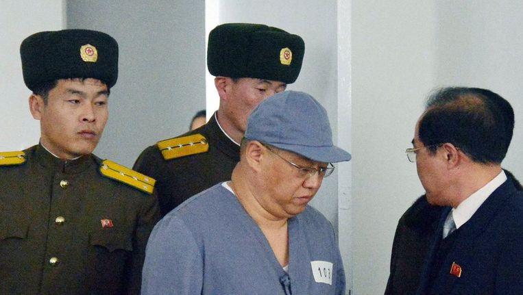 Kenneth Bae tijdens een persconferentie in Pyongyang op 20 januari. Beeld reuters