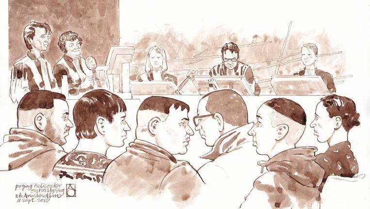 Rechtbanktekening van verdachten Abdelghafour L., Saifeddine M., Rachid el M., Garavito B., Sofyan el H. en Abdellatif N. in de rechtbank van Amsterdam. Beeld anp