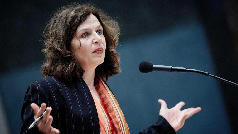 Minister Edith Schippers van Volksgezondheid tijdens het debat over de zorgfraude in de Tweede Kamer op 5 februari. Beeld anp