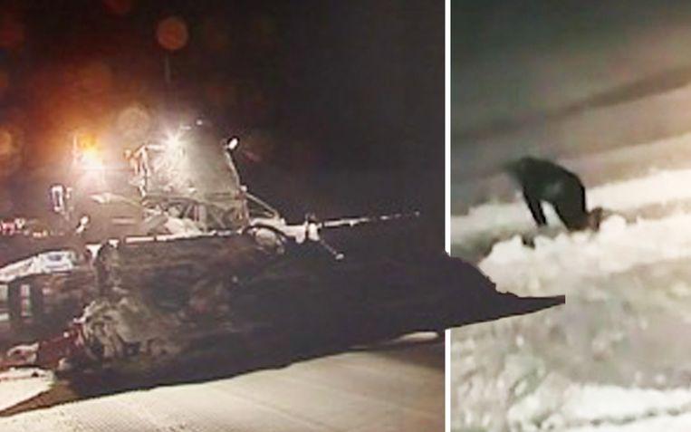Een stomdronken skiër kruipt over de piste terwijl die platgereden wordt door een pistenbully.