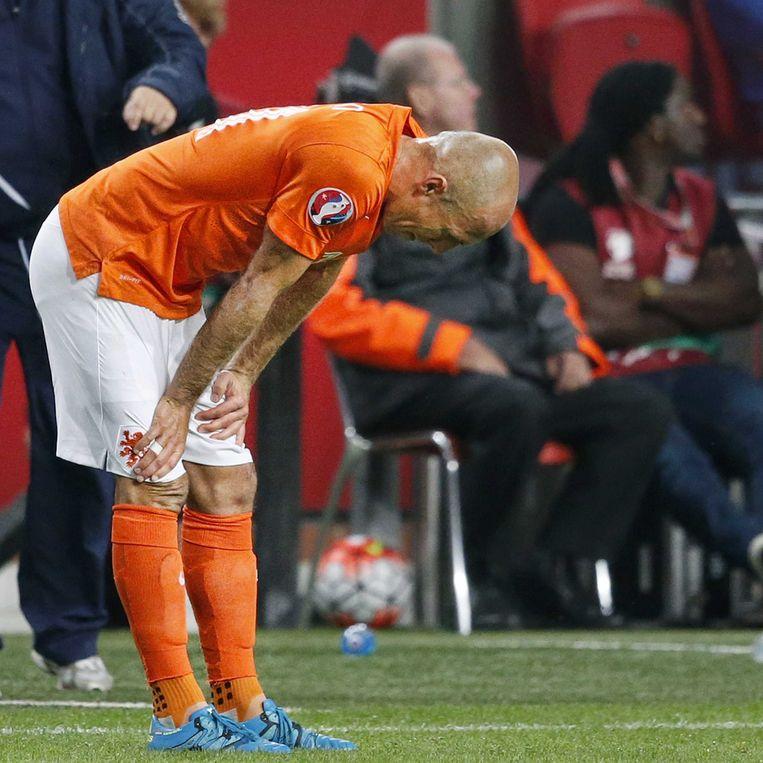 Arjen Robben tijdens de wedstrijd tegen IJsland. Beeld null