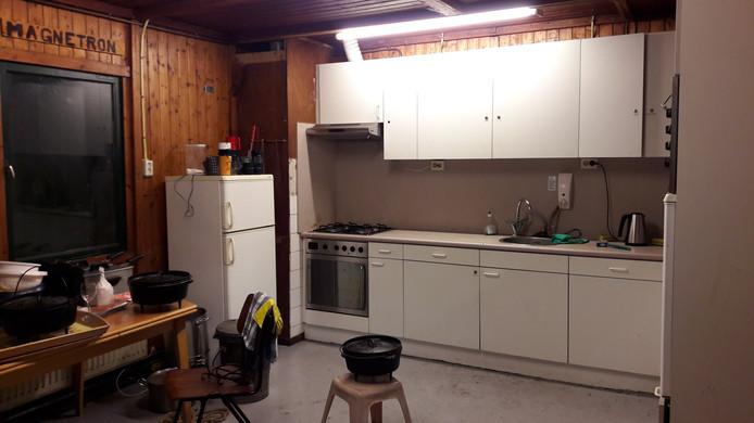 De keuken in de blokhut van Scouting Jan Baloys.