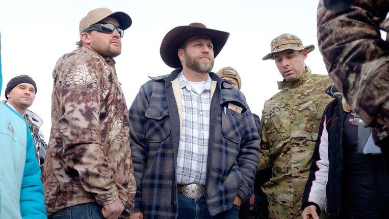 Ammon Bundy, midden, die de bezetting leidt. Beeld AFP