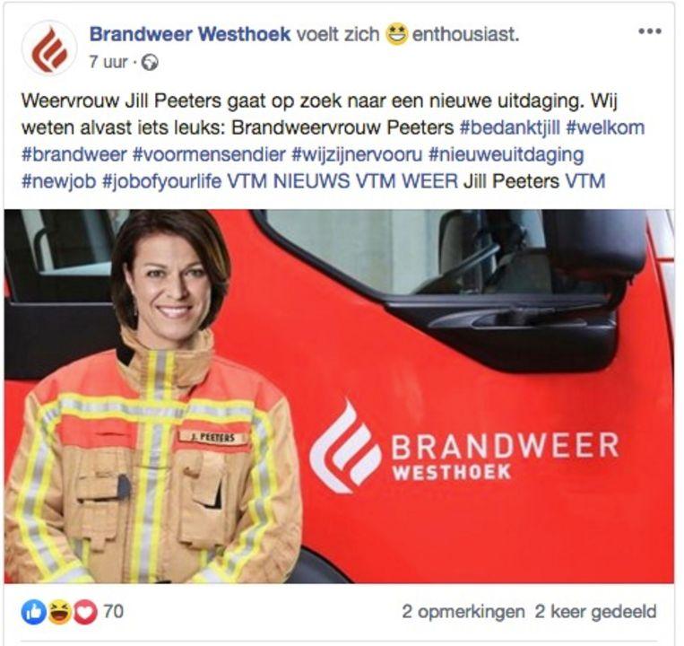 De bewuste Facebookpost van Brandweer Westhoek.
