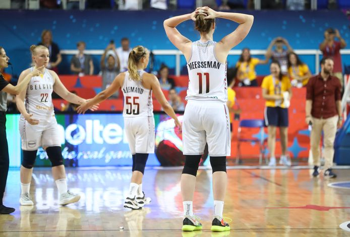 Belgian Cats Emma Meesseman looks dejected after the third game in the group stage, group D, between the Belgian Cats and the Serbian national team, in Zrenjanin, Serbia, at the women EuroBasket basketball European championships, organised in Latvia and Serbia, Sunday 30 June 2019. BELGA PHOTO VIRGINIE LEFOUR