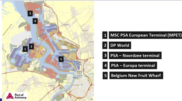 Deze vijf terminals krijgen op termijn een mobiele scanner van de douane.