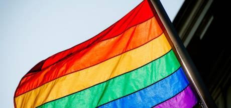 SP-jongeren hangen regenboogvlaggetjes op bij kerk