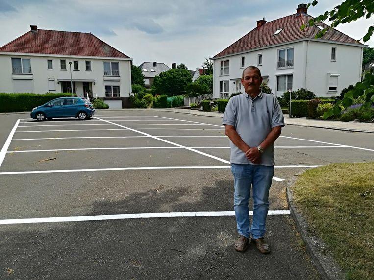 Bewoner Erwin Dusart op de belijning in het Lindenhof.