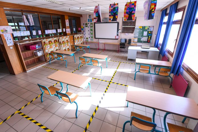 Beeld ter illustratie. Per leerlingen moet een school 4 vierkante meter voorzien, per leerkracht komt daar nog 8 vierkante meter bij. Die afstandsregels maken een heropstart voor alle leerlingen quasi onmogelijk in verschillende scholen.