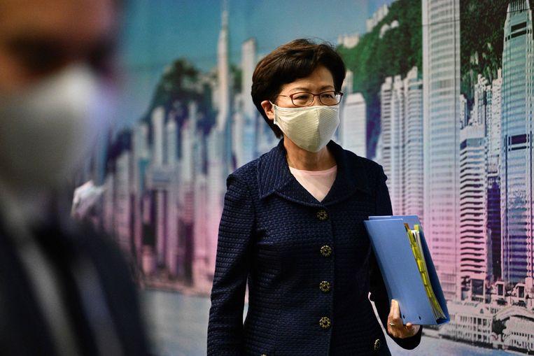 De Amerikaanse sancties zijn gericht tegen Carrie Lam, de hoogste uitvoerend bestuurder van Hongkong, en tien andere hooggeplaatste functionarissen.   Beeld AFP