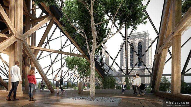 Het glazen dak van 3D-studio Myisis Beeld null