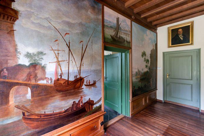 De geschilderde muren in huis Zwanenburg in Dinther
