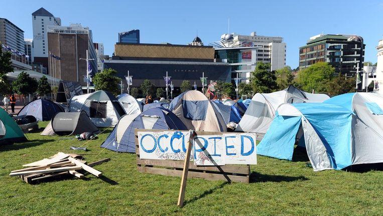 Demonstranten hebben hun kamp opgezet in Auckland, Nieuw Zeeland. Beeld epa