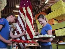 'Stars & stripes' op Trump-wagen in Rekkense bloemencorso
