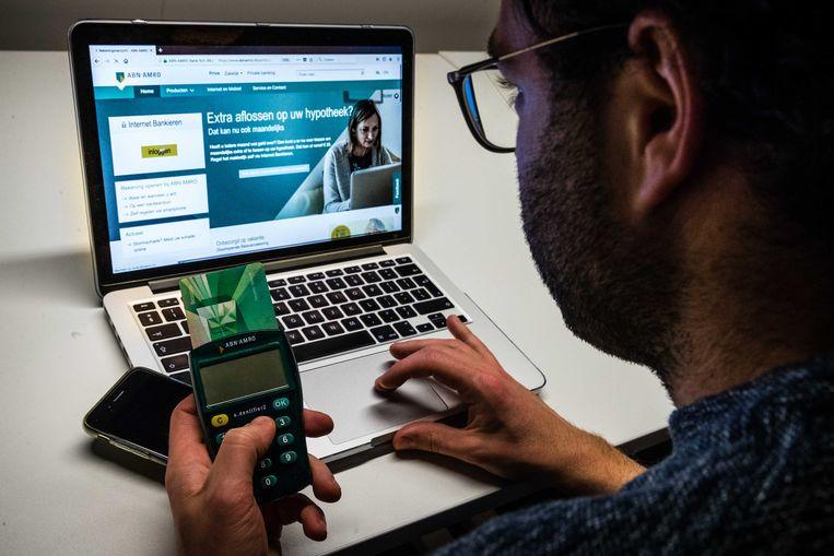 Een man aan het Internet Bankieren met ABN Amro. Beeld ANP XTRA