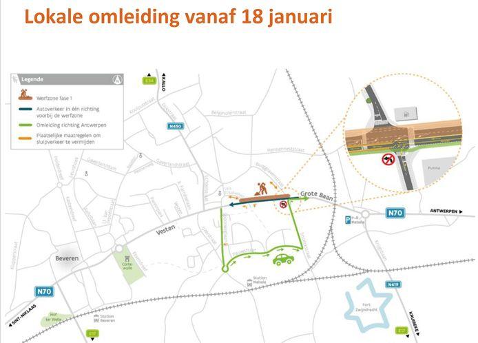 De eerste lokale omleiding zal via de Spoorweglaan, Pauwstraat en Snoeckstraat verlopen.