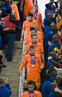 Teleurstelling bij Oranje na het ophalen van de zilveren medaille.