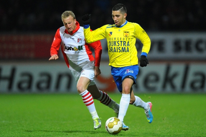 Rutger Worm (L) in het shirt van FC Emmen.