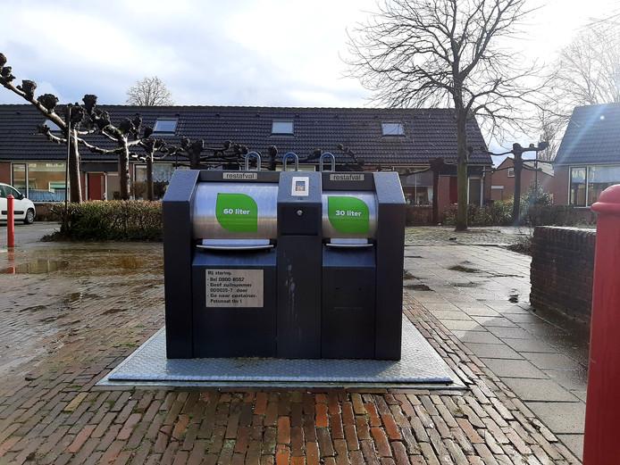 Een ondergrondse afvalcontainer in de Doesburgse wijk Beinum.
