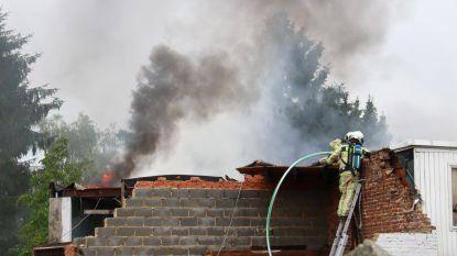 Schuur achteraan woning volledig in vlammen opgegaan, brandweer kan overslag op woning vermijden