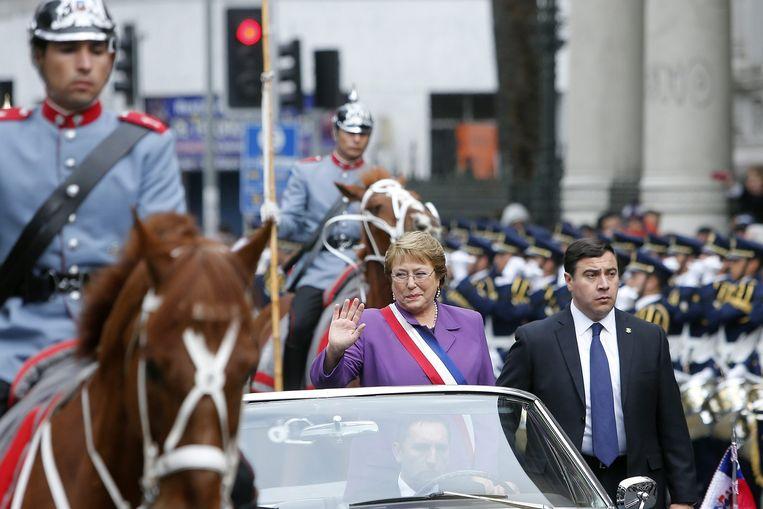 Bachelet op onafhankelijkheidsdag, 18 september 2014. Beeld epa