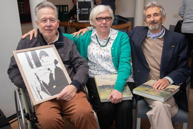 Winnaar van de Binus Cultuurprijs Albert Haelemeersch met Sabine Pauwaert en Guy Romain.