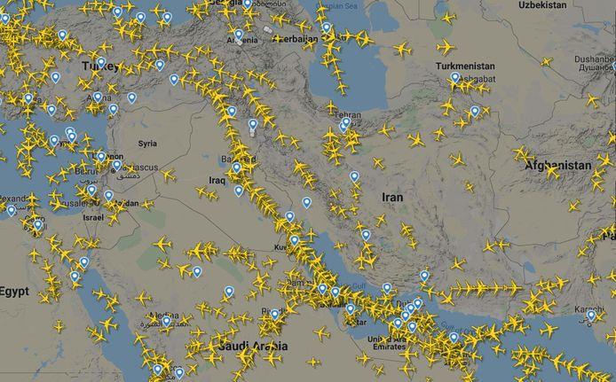 Sur cette image radar, on constate que l'Iran est assez peu survolée par les avions de ligne