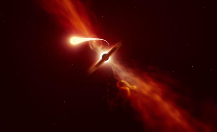Tekening van een zwart gat die een ster tot spaghettisliert trekt. Beeld ESO/M. Kornmesser