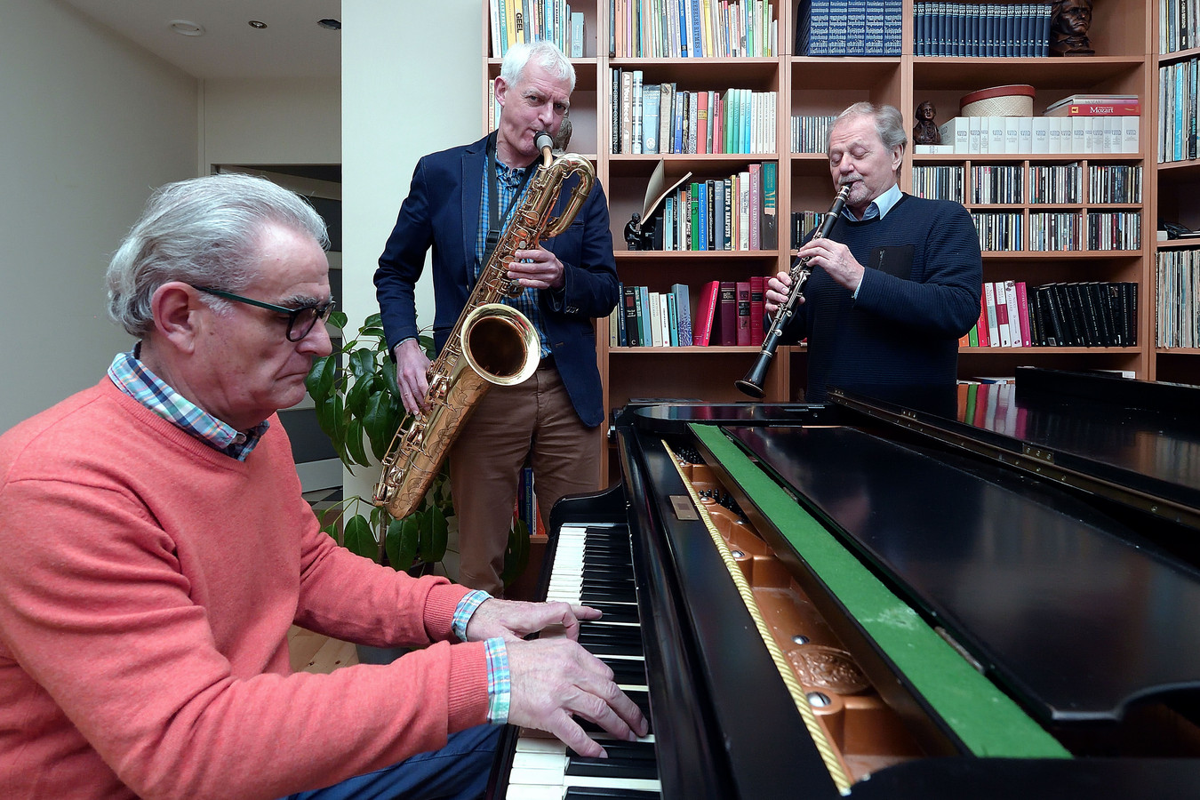 Vlnr Hans Adams, Ton van de Geijn en Frans van Haren, samen Jazz750.