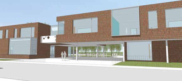 Een simulatie van het toekomstig straatbeeld van de school.