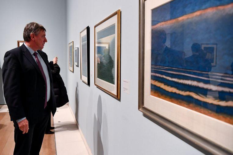 Jambon tijdens de opening van de Spilliaert-tentoonstelling in de Royal Academy in Londen vanavond.