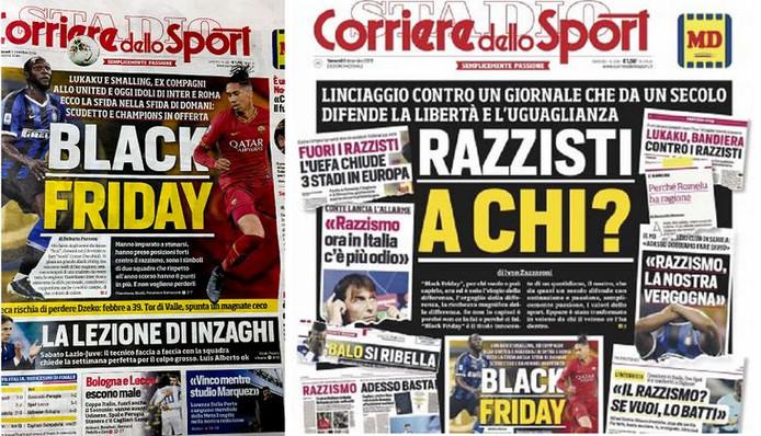 Les deux Unes du Corriere dello Sport de jeudi et de vendredi