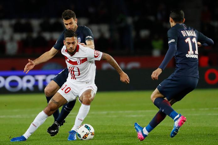 Ricardo Kishna namens Lille in actie tegen Paris Saint-Germain op 7 februari 2017.