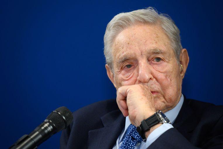 De Hongaars-Amerikaanse filantroop George Soros op het World Economic Forum in Davos. Beeld AFP