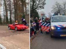 Pieten komen in de brandweerauto naar Usselo, Sint per golfkarretje naar Hellendoorn