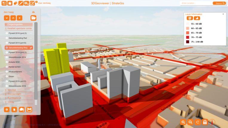 3D-impressie van Bezuidenhout. Te zien is welke straten de meeste geluidsoverlast hebben. Het gele blok is aanstaande nieuwbouw. Beeld StrateGis