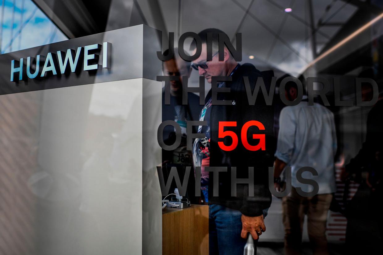 Informatiestand van Huawei op een symposium in Lissabon eerder deze maand. Beeld AFP