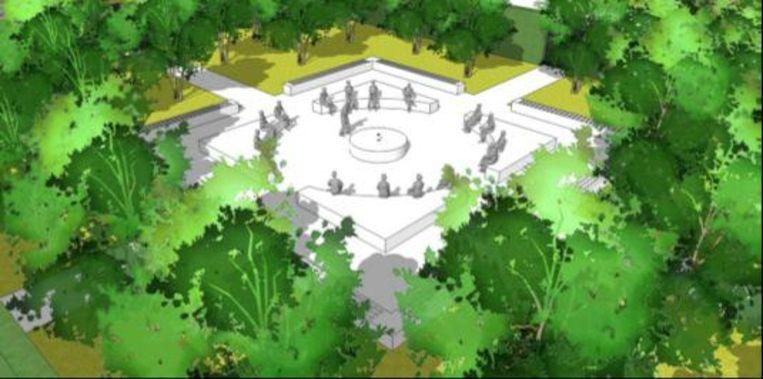 Een simulatie van de afscheidstuin: vier strooiweides rond een centraal bezinningspunt.