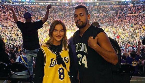 Kalinskaya en Kyrgios trokken in maart nog samen naar een NBA-wedstrijd.