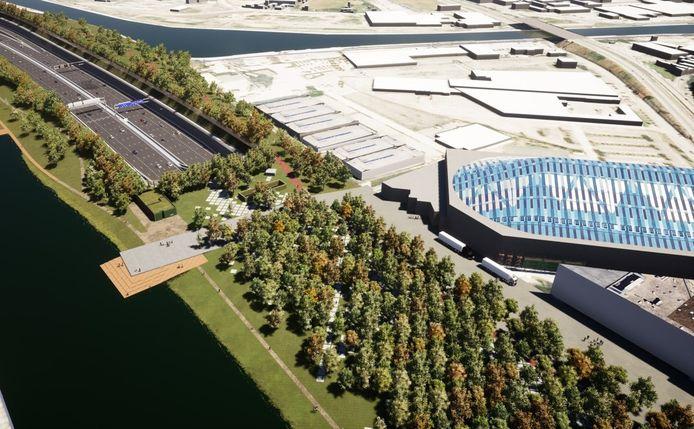 De overkapping bij het Sportpaleis met een van de zeven Ringparken.