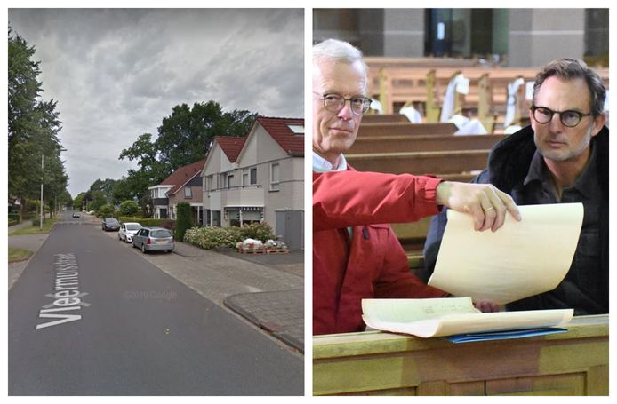 Links: de Vleermuisstraat in Hengelo. Het ziet er niet zo uit, maar volgens een website is het één van de engste straatnamen in Nederland. Rechts: Ronald de Boer in Stadtlohn, voor opnames van Verborgen Verleden.