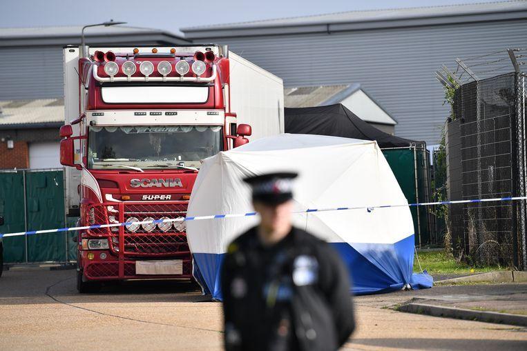 Woensdagochtend trof de Britse politie in Essex 39 dode migranten aan in een koelwagen. Beeld AFP